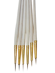 6PCS Synthetic Hair Nail Art Brushes With White Handles