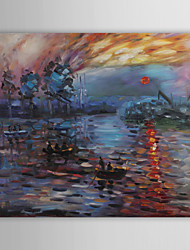 Hand-painted Sunrise Oil Painting by Claude Monet with Stretched Frame
