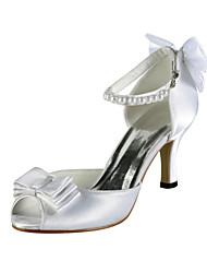 Cetim Stiletto Peep Toe Heel com sapatos de imitação da pérola do casamento (mais cores)