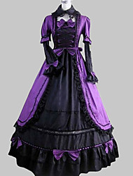 One-Piece/Dress Classic/Traditional Lolita Vintage Cosplay Lolita Dress Purple / Black Vintage Long Sleeve Floor-length Dress/Sleeves Aristocrat