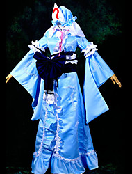 Inspiré par Touhou Project Yuyuko Saigyouji Vidéo Jeu Costumes de cosplay Costumes Cosplay Mosaïque Bleu Top