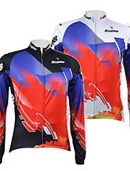 KOOPLUS® Cycling Jersey Men's Long Sleeve Bike Breathable / Quick Dry / Front Zipper Jersey / Tops 100% Polyester Floral / Botanical
