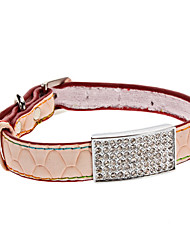 Dog Collar Orange PU Leather