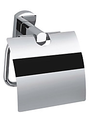 Contemporary Solid Brass Wall Mount Chrome Finish Silver Toilet Roll Holders