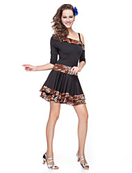 dancewear Viskose Leopardenmuster latin dance dress für Damen