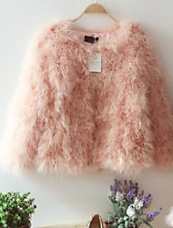 Fashion Long Sleeve Collarless Ostrich Fur Party/ Career Jacket (More Colors)