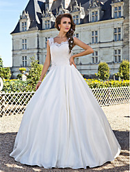 A-line Plus Sizes Wedding Dress - Ivory Floor-length Scoop Lace/Taffeta