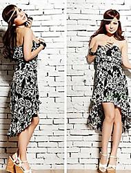 Women's Print Dress Strapless Pleated