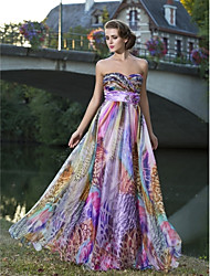 Prom / Formal Evening Dress - Floral Plus Size / Petite Sheath / Column Strapless / Sweetheart Floor-length Chiffon withFlower(s) /