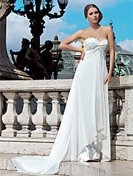 Lanting Bride Sheath/Column Petite / Plus Sizes Wedding Dress-Court Train Sweetheart Chiffon