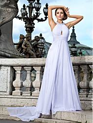 TS Couture® Formal Evening Dress - Sexy Plus Size / Petite A-line / Princess Jewel Floor-length / Watteau Train Chiffon with Beading / Draping / Criss