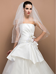Wedding Veil Two-tier Elbow Veils Cut Edge 31.5 in (80cm) Tulle Ivory Ivory A-line, Ball Gown, Princess, Sheath/ Column, Trumpet/ Mermaid
