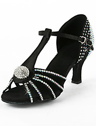 Женская Rhinestone / Атласные Верхняя T-Strap латинского / Бальные танцы обувь