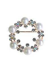 joyería fina de oro plateado broche de perlas para las mujeres