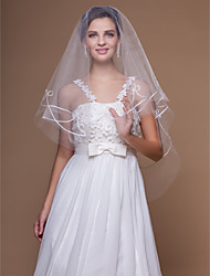Wedding Veil One-tier Fingertip Veils Cut Edge 62.99 in (160cm) Tulle White / IvoryA-line, Ball Gown, Princess, Sheath/ Column, Trumpet/