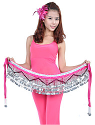 Belly Dance Hip Scarves Women's Training Polyester Beading Coins 1 Piece Hip Scarf