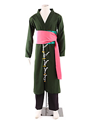 Inspired by One Piece Roronoa Zoro Anime Cosplay Costumes Cosplay Suits / Kimono Patchwork Black Long SleeveKimono Coat / Pants / Waist