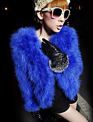 Long Sleeve Collarless Faux Fur Casual/Party Jacket (More Colors)