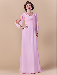 Lanting Bride® Sheath / Column Plus Size / Petite Mother of the Bride Dress Floor-length Long Sleeve Chiffon with Criss Cross / Ruching