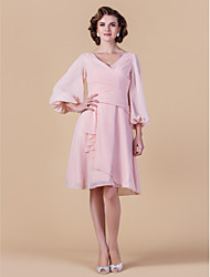 A-line Plus Sizes / Petite Mother of the Bride Dress - Blushing Pink Knee-length 3/4 Length Sleeve Chiffon
