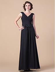 Vestido Para Mãe dos Noivos - preto Tubo/Coluna Longo Sem Mangas Chiffon Tamanhos Grandes