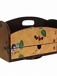 Antique European Style Fruit Pattern Rotatable Wooden Storage Box