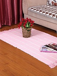 ELAINE 100% Cotton Carpet Patterned with Plaid (80*150cm,Pink)