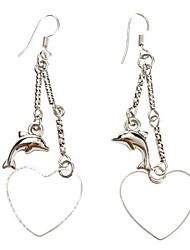 Dolphin Peach Heart Shape Platinum Earrings