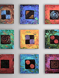 Hand-Painted Abstract Square,Modern Traditional More than Five Panels Oil Painting For Home Decoration
