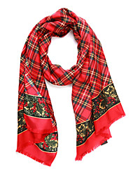 Minimalist 100% Mulberry Silk Red Plaid Scarf