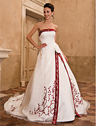 Lan Ting A-line/Princess Plus Sizes Wedding Dress - Ivory Chapel Train Strapless Satin/Organza