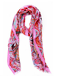 Turkey 50% Wool 50% Velvet Floral Patten Pink Scarf/Shawl