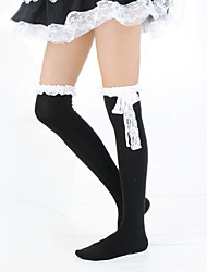 Meias e Meias-Calças Lolita Clássica e Tradicional Lolita Lolita Preto Branco Acessórios Lolita Meias Finas Rendas Para Algodão