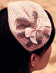 G.Tamini-Women 's Feather Yarn Hat Headband (Longitud: Ancho 25cm,: 15 cm)