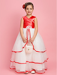 A-line Ball Gown Princess Floor-length Flower Girl Dress - Organza Stretch Satin V-neck with Flower(s) Side Draping