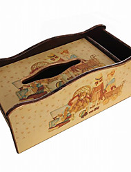 FREE SHIPPING Antique European Style Litter Bear and Girl Pattern Dual Purpose Wooden Storage Box