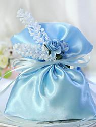Blue Satin Favor Bag Mit Ribbon (Set of 6)