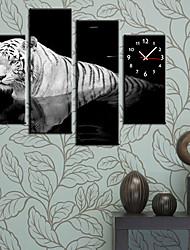 Часы настенные из 4 полотен с изображением белого тигра
