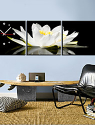 Modern Style Floral Canvas Wall Clock Set of 3