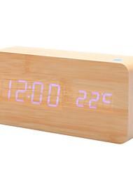 Khaki Wooden Design Blue Light Desktop Alarm Clock Calendar Thermometer (USB/4xAA)