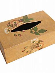 Antique European Style Flower Pattern Wooden Tissue Box