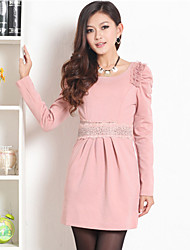 PRENAIR Lace Rhinestone Decor Pleats Puff Sleeve Dress(More Colors)