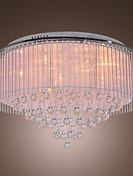 Modern Crystal Drop 8-Light Flush Mount with Fabric Lamp