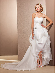Lanting Bride® A-line / Princess Petite / Plus Sizes Wedding Dress - Classic & Timeless Asymmetrical Sweetheart Organza