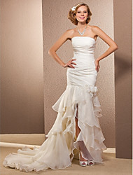 Lanting Bride Trumpet/Mermaid Petite / Plus Sizes Wedding Dress-Asymmetrical Strapless Organza