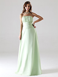 Lanting Bride® Floor-length Chiffon Bridesmaid Dress A-line / Princess Strapless Plus Size / Petite with Draping / Ruching