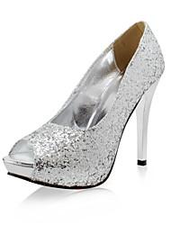 Mujer Zapatos de boda Tacones/Punta Abierta Tacones Boda Negro/Plata/Oro