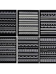 6PCS Graceful White Lace Wedding Nail Art Stickers (assorti-serie)