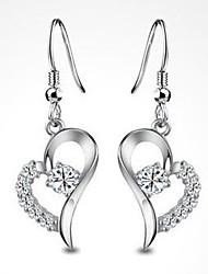 Brillant Argent 925 Boucles d'oreilles en forme de coeur