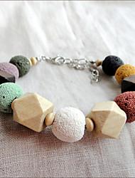 Vintage Handmade Multi-Color Lava Perlen aus Holz Armband (Innenumfang: 16cm)